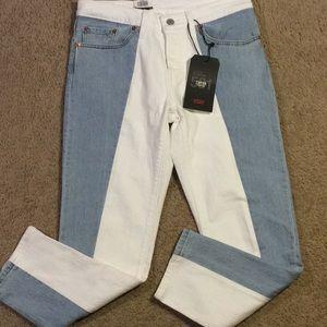 NWT Levi's 501 White/Denim Jeans